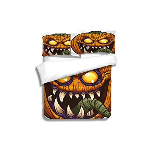 Duvet Cover Set Halloween Scary Pumpkin Monster Evil Character with Fangs Aggressive Cartoon Purple Orange Dark 3 Piece Bedding Set with Pillow Shams, Queen/Full, Dark Orange White Teal Coral]()