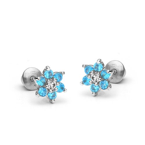 925 Sterling Silver Rhodium Plated Flower Sky Blue Cubic Zirconia Screwback Baby Girls ()