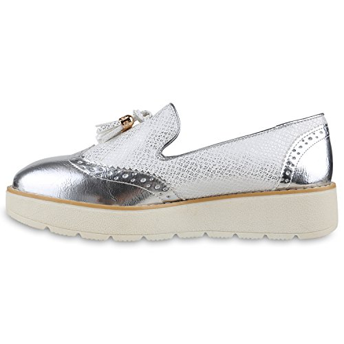 Damen Slipper Lack Plateau Loafers Metallic Schuhe Profilsohle Loafer Flats Glitzer Slippers Quasten Lochung Flandell Silber Quasten