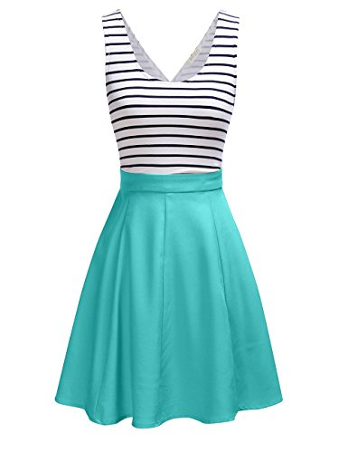 FSOOG Women's Cross Back Sleevless Cocktail Party Striped Casual Tank Mini Dress S MINT Cross Back Dress
