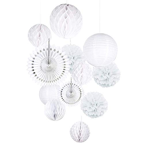 Wedding Decorations White Paper Fans Pom Pom Lantern Chinese Marriage Ceremony Reception Decor