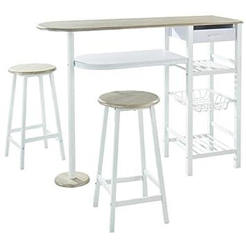 5787ff9c617575 Julia Ensemble Table Bar 2 Personnes Style Contemporain en métal laqué Blanc  et MDF décor Chene