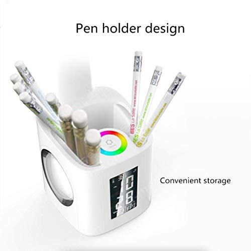 MRXUE Table Lamp Pen Holder Colorful Desk Lamp Screen with Date Time Alarm Clock Temperature Touch Control Eye-Care USB Charger Port Phone Charging by MRXUE (Image #1)