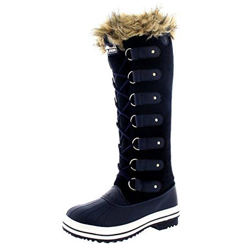 Mujer Manguito De Piel Cordones Caucho Altura De La Rodilla Zapato Bota Marina Suede