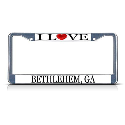 Sign Destination Metal License Plate Frame Solid Insert I Love Heart Bethlehem, Ga Car Auto Tag Holder - Chrome 2 Holes, Set of 2]()