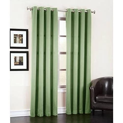 Gorgeous Home *DIFFERENT SOLID COLORS U0026 SIZES* (#72) 1 PANEL SOLID THERMAL  FOAM LINED BLACKOUT HEAVY THICK WINDOW CURTAIN DRAPES BRONZE GROMMETS (SAGE  GREEN ...