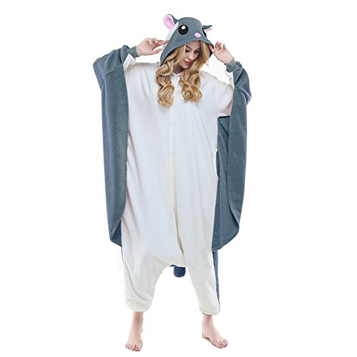 NEWCOSPLAY Flying Squirrel Costume Sleepsuit Adult Pajamas (M, Grey Flying Squirrel)