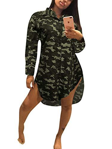 Antique Style Women's Summer Autumn Casual Deep V-Neck Long Sleeve Camo Printed Button Down Basic Polo Shirts Irregular Hem Party Club Dress Army Green XL ()