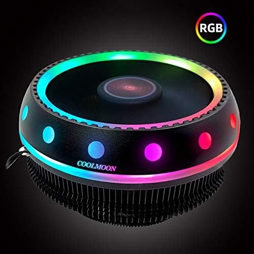 CawBing UFO Fantasy Color CPU Cooler Desktop Host Mute Universal RGB Color Computer Cooling CPU Fan