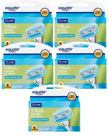 Equate 5 Blade Cartridges for Women, 6 count (Pack of 5) by Equate*