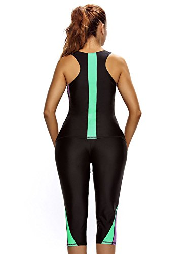 ea451ad740c ZKESS Women Color Blocked Swim Leggings Capri Pants Tankini Tops 2PC  Swimsuit Surfing Swimwear Large Size Multicoloured   Rash Guards    Clothing