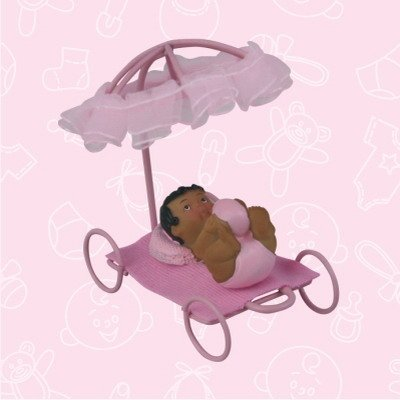 48 Ethnic African American Pink Baby Shower Girl Under Metal Wire Umbrella Favors in Box Gift Keepsake Favor