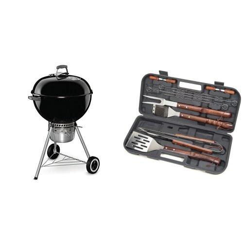 Weber 14401001 Original Kettle Premium Charcoal Grill, 22-Inch, Black with Cuisinart Grilling Set