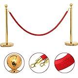 Yaheetech Multi-Choice Stanchion set Posts Queue Pole Retractable Belt/Ropes Crowd Control Stanchions Barrier (2pcs, Gold)