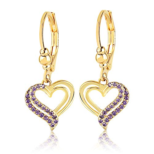 Stainless Steel Girl's Earrings - Violet Crystal Heart Shaped Dangle Jewelry