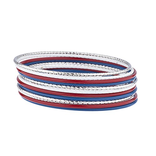 Lux Accessories Silver Tone Red White Blue America July 4th Patriotic Bangle Set -