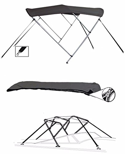 SBU-CV 7oz Charcoal Grey 3 Bow Round Tube Boat Bimini TOP Sunshade for CRESTLINER 1650 Fish Hawk WT O/B W/TM 2016-2018