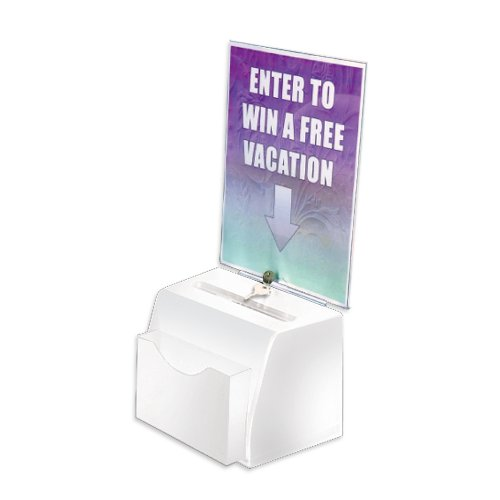 Azar 206776 Small Molded Suggestion Box with Pocket Lock and Key, White