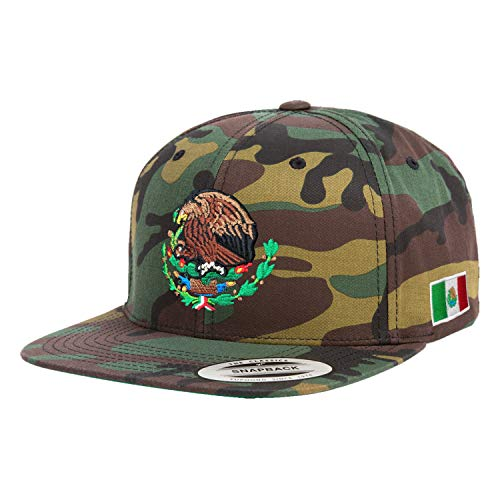 Yupoong Mexico Snapback Hats Embroidered Shield and Flag (Camouflage/Full Color ()