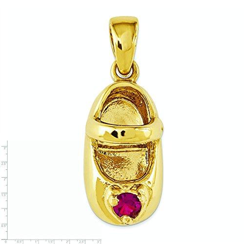 14 carats 3-d juillet Rubis Engraveable-JewelryWeb en forme de chaussure de bébé