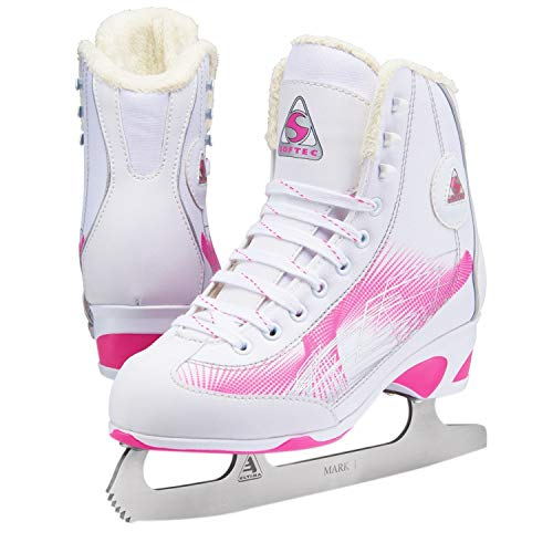 Jackson Ultima Girls Figure Ice Skates Softec Rave RV2001, Color: Pink, Size:11