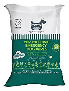 HOWND Yup You Stink! Emergency Dog Grooming Wipes- All Natural Dog Wipes with Essential Oils and Aloe to Soothe Skin (Best Dog Shampoo For Smelly Dogs Uk)