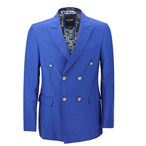 Blazer vintage Classique Pour homme, double boutonnage, Noir, Bleu, Boutons Dorés–Homme–4couleurs -  bleu -  poitrine 56