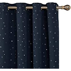 Deconovo Navy Blackout Printed Curtains Room Darkening Room Thermal Insulated Window Curtain Panels for Boy's Room 52W x 72L Inch Navy Blue