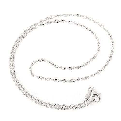 14k White Gold 2.0mm Solid Diamond-Cut Royal Rope Anklet, 10'' by Beauniq