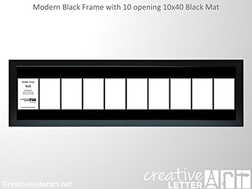 Creative Letter Art 4x6 Multi Opening Collage Picture Frames with Full Strength Glass and 1 1/2 Wood Molding - Alphabet Photiography - Wedding Photos (Black | Black Mat, 10 Opening) Creative Letters