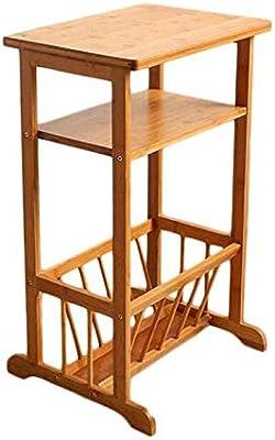 XUERUI Mesas 2 Nivel Estante Estantería Sofá Lado Mesa, Bambú ...