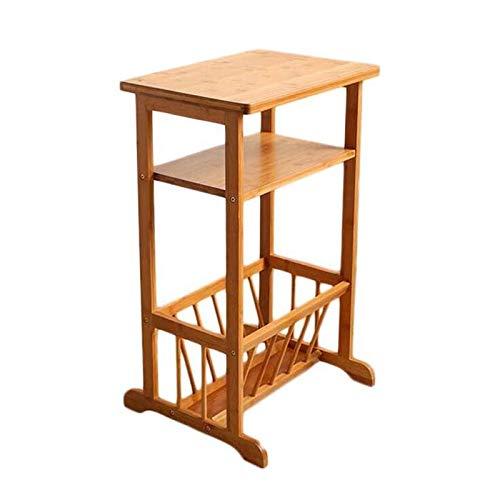 Arredonnato CJC Tavolini 2 Fila Mensola Ripiani Divano Lato Tavolo, bambù Comodino Telefono caffè Fine Tavolo Conservazione Cremagliera (colore   Natural Bamboo)