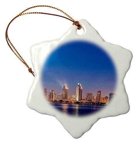 (Funny Christmas Snowflake Ornaments Usa California Coronado Island San Diego Skyline At Twilight Holiday Xmas Tree Hanging Ornaments Decoration Gifts)