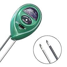 Soil pH Meter, Amado 3 in 1Plant Flowers pH Meter Soil pH Soil Meter for Gardening, Farming, Indoor/Outdoor Use