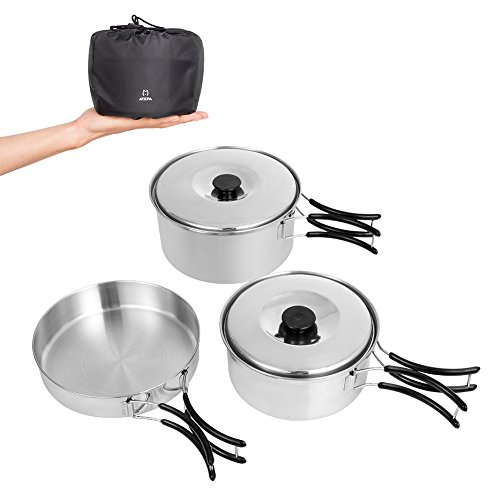 ATEPA Healthy Stainless Steel Camping Cookware Mess Kit, Lightweight Camp Cooking Set Include 2 pots & 1 Frying Pan, for Backpacking, Hiking, Picnic,Easy to Clean