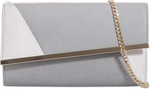 H&G Womens Faux Leather Asymmetric Clutch Bag Two Tone Frame Evening Party Prom Bag (Grey) Grey White