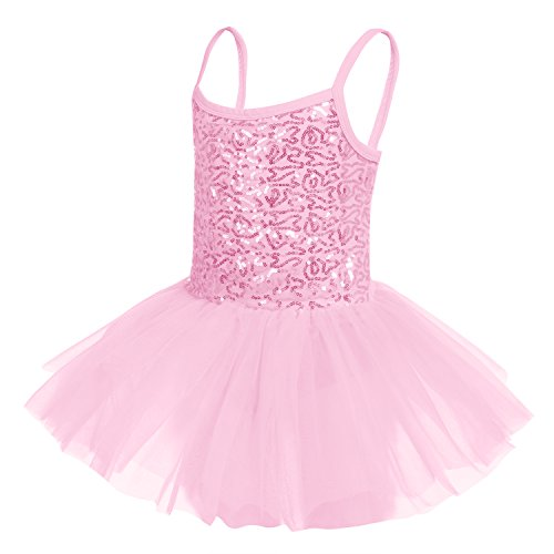 (Arshiner Kids Girl Spaghetti Strap Sequined Patchwork Multi Layer Ruffle Ball Gown Dress Pink Size)