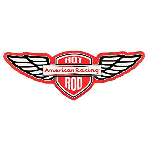 Open Road Brands American Racing Hot Rod Rustic Embossed Metal Sign ()