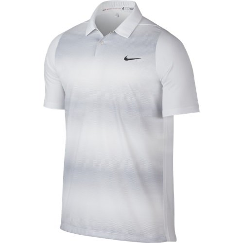 Nike Tiger Woods VL Max Sphere Stripe Golf Polo 2016 Whit...