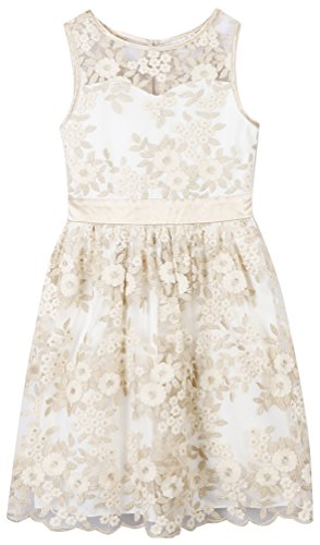 Speechless Girls' Big Pretty Party Dress with Sweetheart Bodice, Ivory, 12 -
