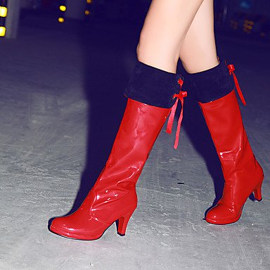 EU45 Toe Red Boots Winter US12 For Shoes UK10 Knee White Boots Round High CN47 Fashion 5 Patent Wedding Women'S Leather Black Boots 5 RTRY xZzRqf