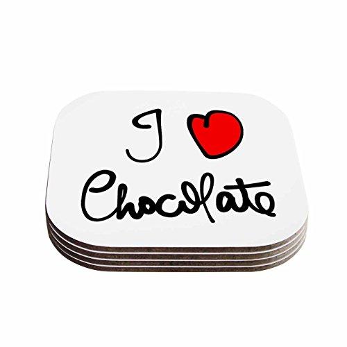 kess inhouse Gabriela Fuente 'I Love Chocolate alimentos tipografía' posavasos (juego de 4), 10.2x 10.2cm, multicolor