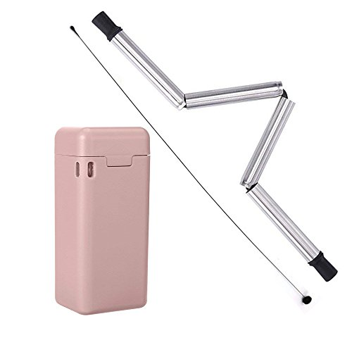 Folding Drinking Keychain Straw,9 Inch Reusable Straw Final Collapsible Medical-Grade Food-Grade Drinking Straws Portable with Hard Case Cleaning Brush(Pink) by Turbokey