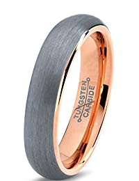 Tungsten Wedding Band Ring 5mm for Men Women Comfort Fit 18K Rose Gold Plated Domed Brushed Lifetime Guarantee
