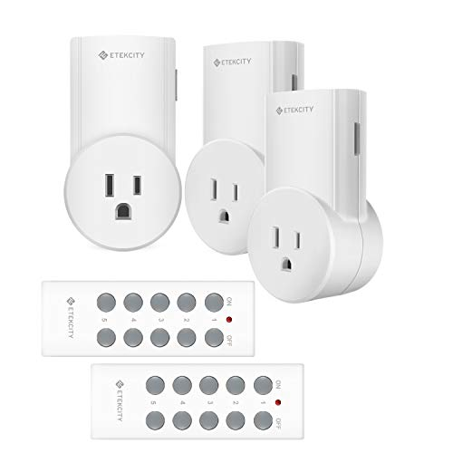 Etekcity Upgraded Remote Control Outlet Wireless Light Switch for Household Appliances, Unlimited Connections, FCC ETL Listed, White (Learning Code, 3Rx-2Tx)