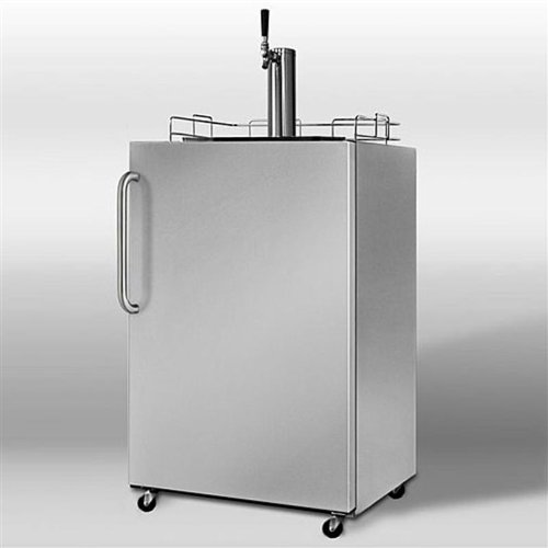 Summit Professional Series SBC490OSSSTB 24'' Outdoor Full Keg Beer Dispenser with Automatic Defrost, Covertible to Refrigerator and Included Shelves: Single Tap with Pro Handle