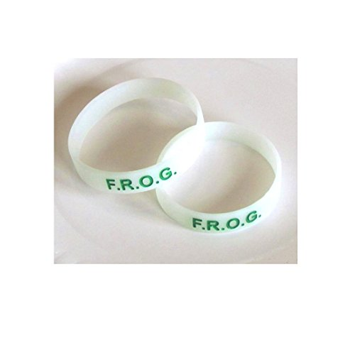 Youth Glow In Dark White F.R.O.G Green Ink Filled Silicone Bracelet