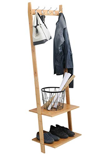 exilot Natural Bamboo Wall-Leaning Coat Rack,Entryway 5 Hooks Hall Tree with 2-Tier Storage Shelf,Multi-Functional Coat Hat Umbrella Shoe Rack.