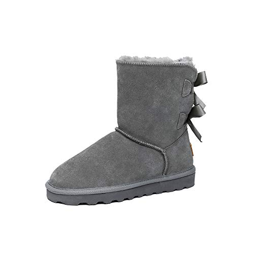 TF STAR Winter Warm Cow Suede Boots for Women & Ladies, Women's Suede Leather Short Fashion Snow Boots