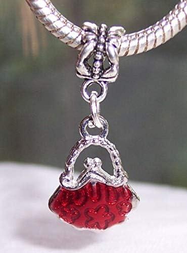 Red Evening Bag Purse Pocketbook Handbag Enamel Charm for European Bracelets Boong Store